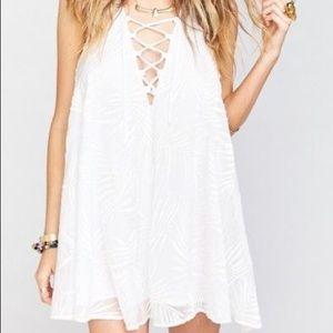 White Lace Up Dress